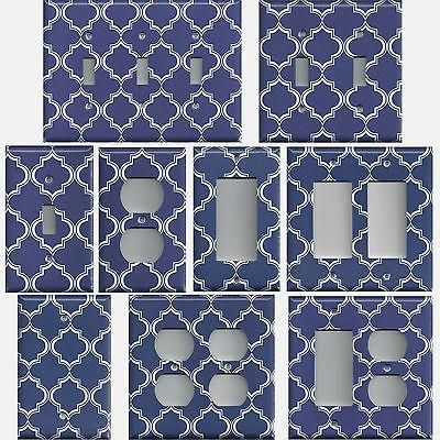 Navy Blue and White Quatrefoil Lattice Light Switch Covers & Wall Outlet Covers - Simply Chic Gal
