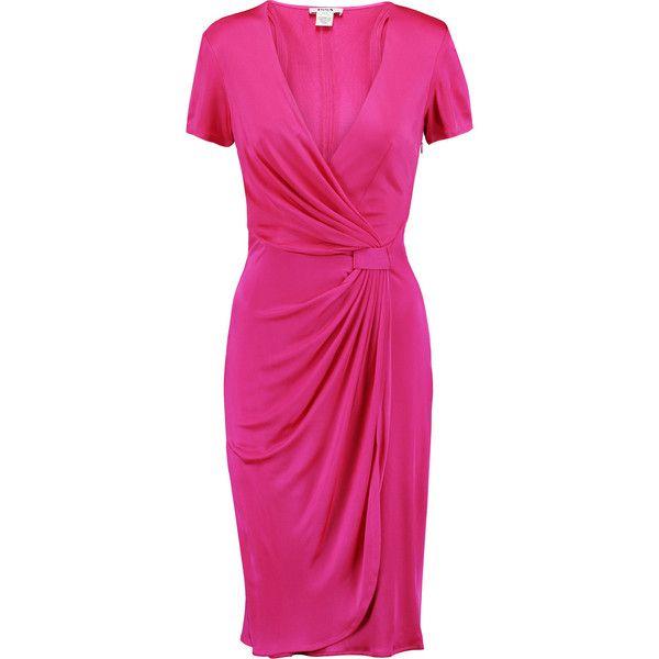 Issa Wrap Effect Satin Jersey Dress Jersey Dress Pink Wrap Dress Fuchsia Dress