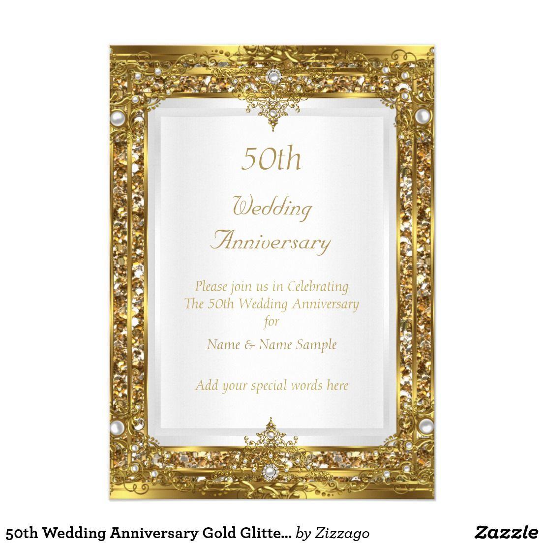 50th Wedding Anniversary Gold Glitter White Pearl Card | 50th ...