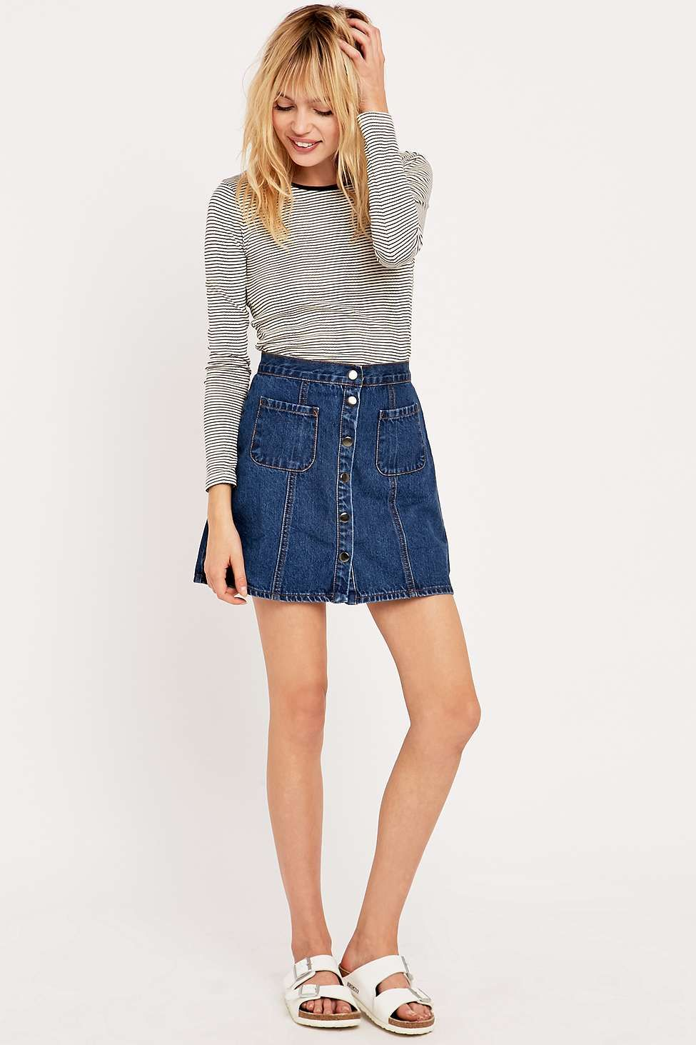 Cooperative by Urban Outfitters Denim A-Line Skirt