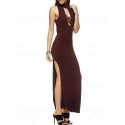 Fashionable Slimming Turtle Neck Low-Cut Maxi Dress For Women