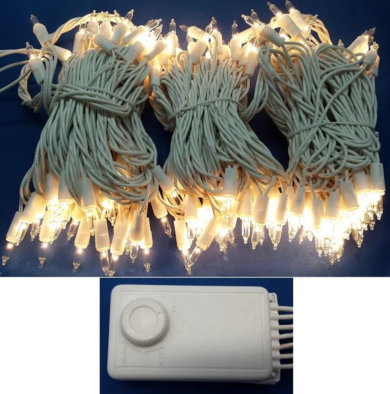 set of 140 clear random twinkling and chasing mini christmas lights white cord