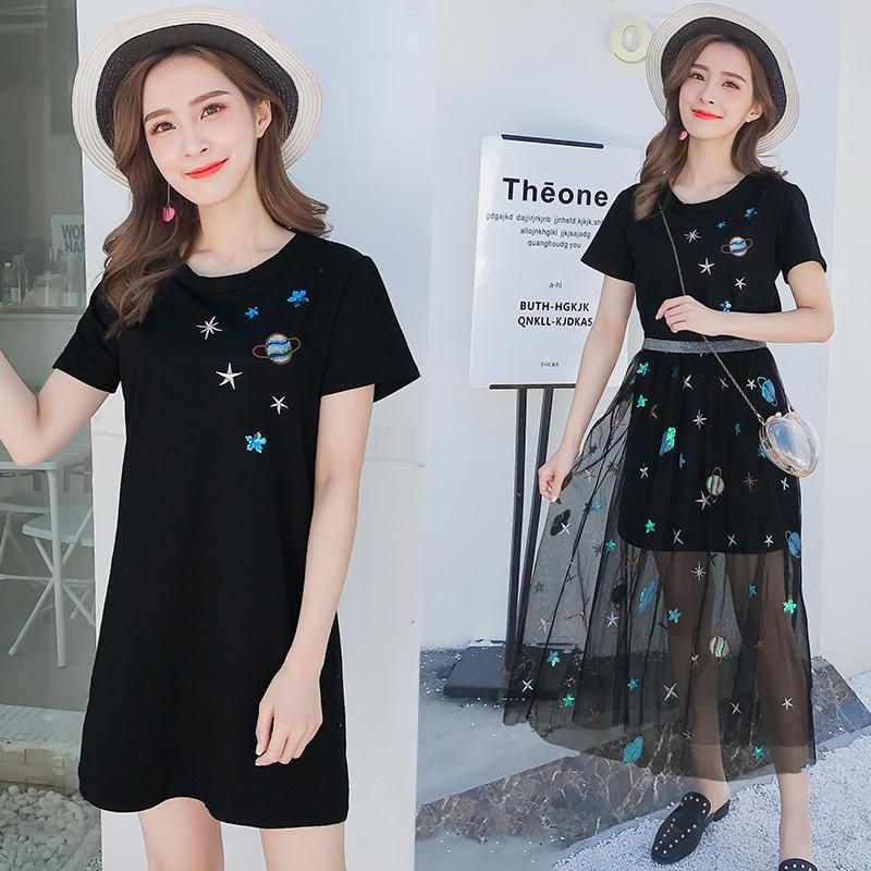 6a857286ff Black/White Star T-shirt + Planet Embroidery Gauze Skirt Two-Piece SE11209  Use coupon code
