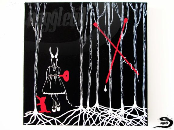 Line Drawing Yarn : Woods an original one of a kind surreal dark art acrylic
