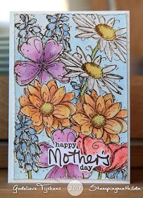 handmade Mother's Day card from Stamping Mathilda: Fine Flowers for Mother's Day ... masking techniqe to overlap individual flower stamps ...