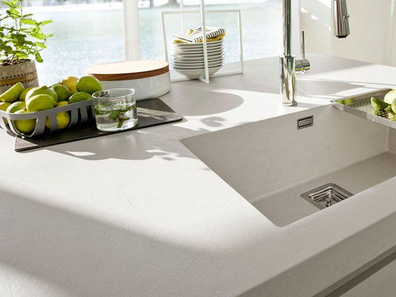 Plan De Travail Béton Ciré Blanc Cuisine Kitchen Countertop