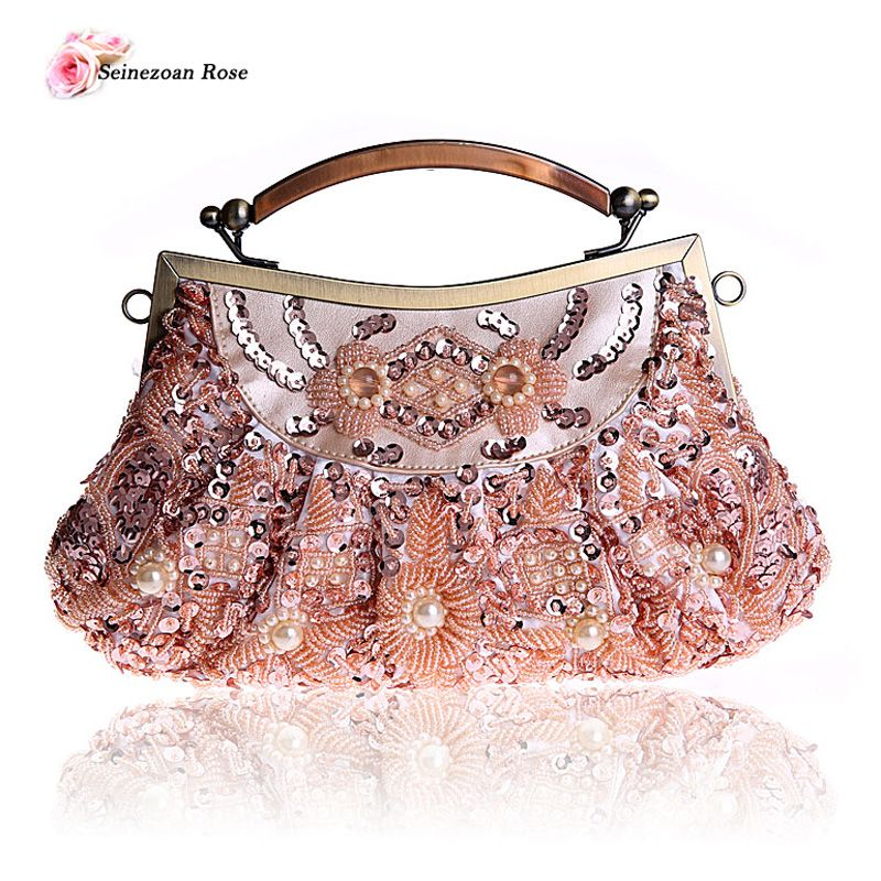 2016 Vintage Women s Beaded Frame Totes Handbags Purses Beading Sequined  Evening Party Clutch Bags Small Shoulder Messenger Bags 94c26de0fe1f