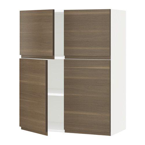 METOD Bovenkast m planken/4 deuren - wit, Voxtorp walnootpatroon - IKEA