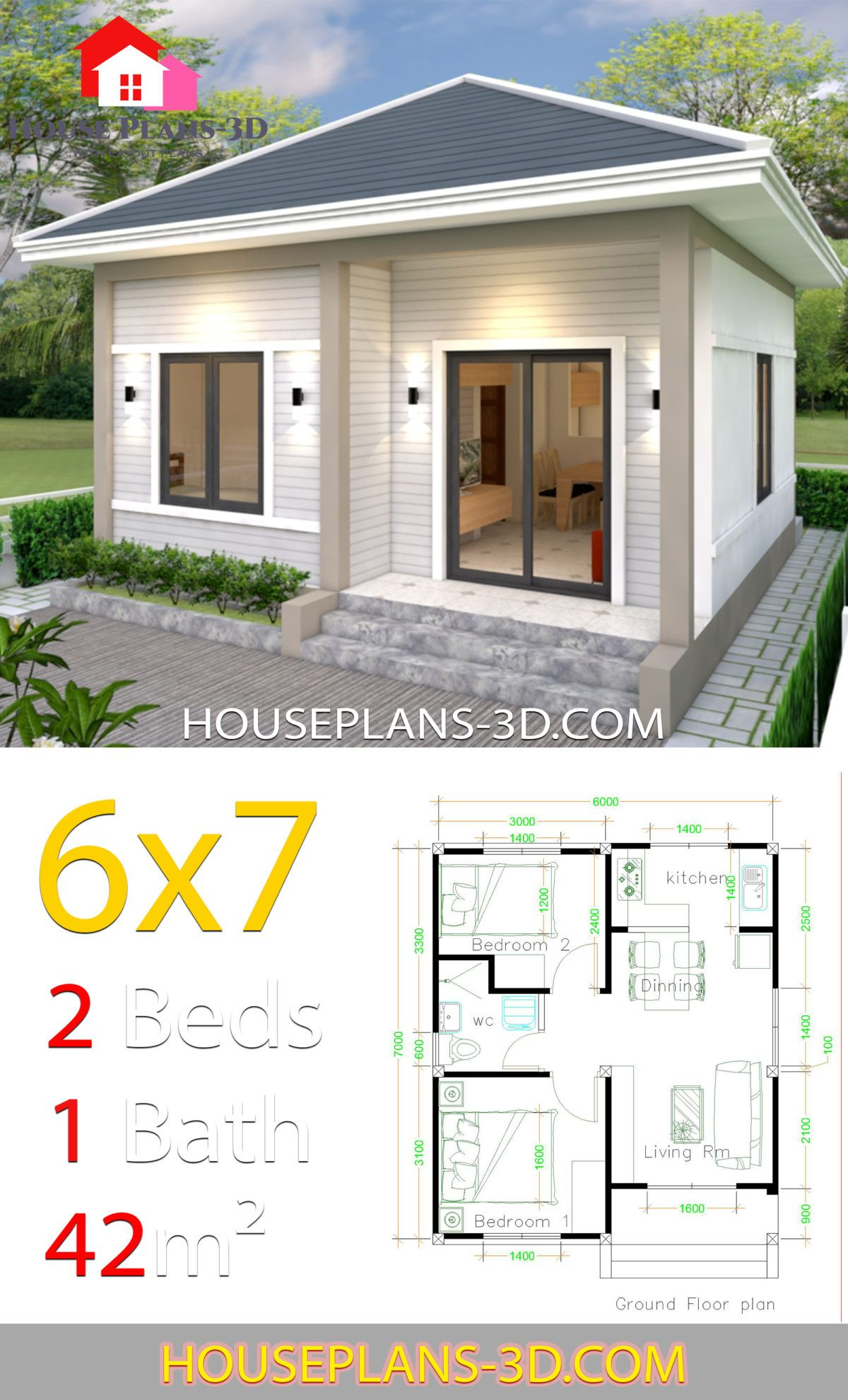 Simple House Plans 6x7 With 2 Bedrooms Hip Roof House Plans 3d In 2020 Small House Layout Simple House Design House Plans