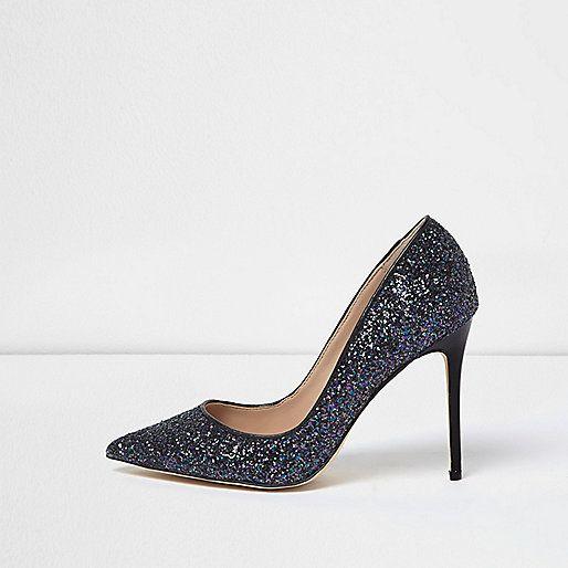 3d596e7da37a Escarpins bleu marine à paillettes - Chaussures - Chaussures/bottes - Femme