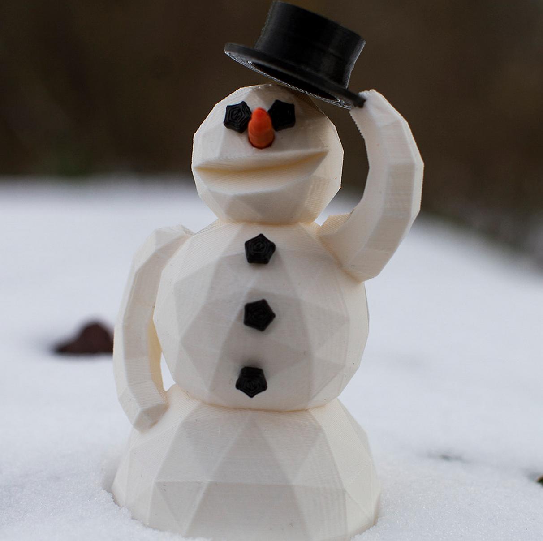 Friendly 3d printed snowman