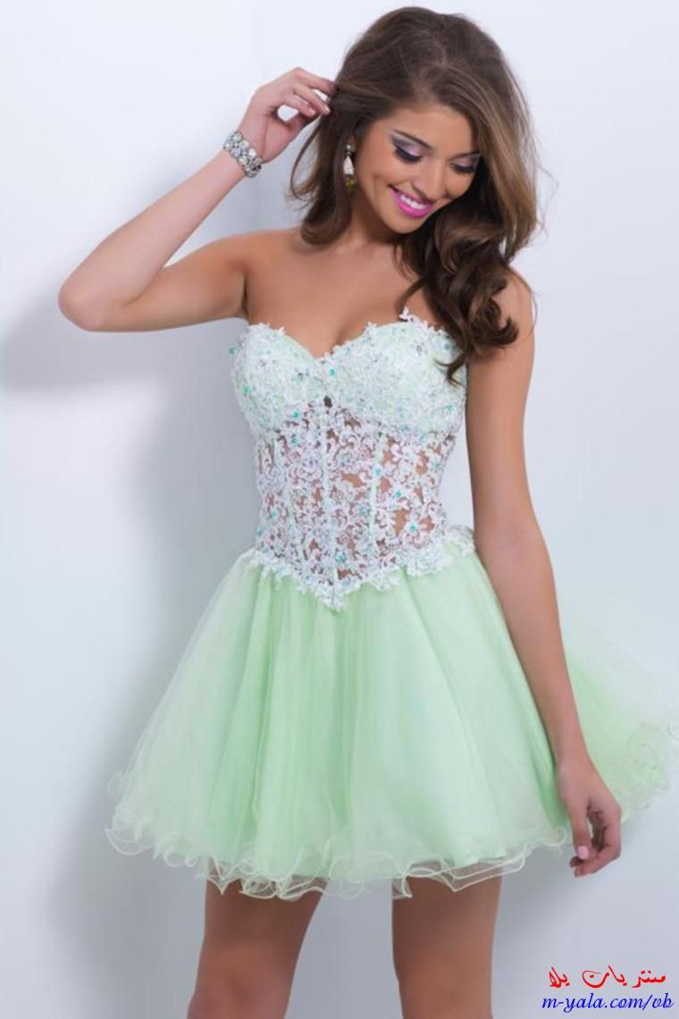 فساتين سهرة قصيرة للصبايا اشيك فساتين خروج للمراهقات 2015 Prom Girl Dresses Strapless Homecoming Dresses Green Prom Dress