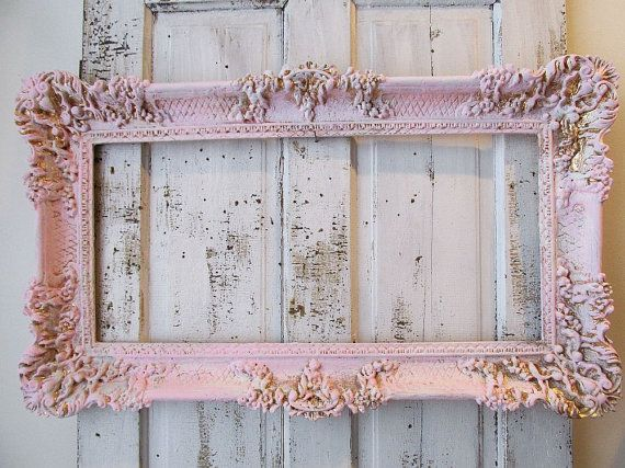 Pink and gold ornate frame shabby cottage chic by AnitaSperoDesign ...