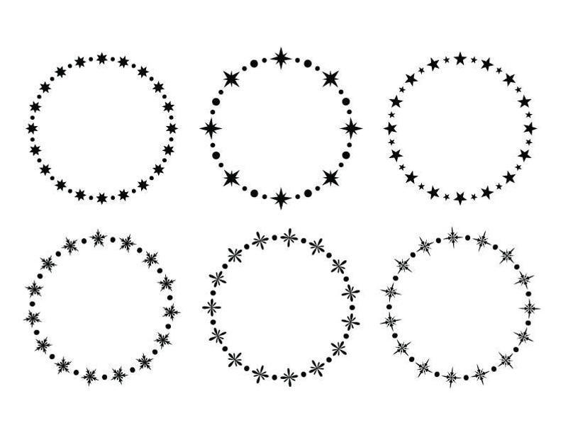 Star And Snowflake Frame Clip Art Set Png Svg Vector Circle Etsy Frame Clipart Art Set Clip Art