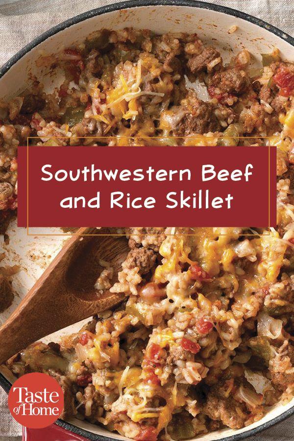 Southwestern Beef and Rice Skillet #beefandrice
