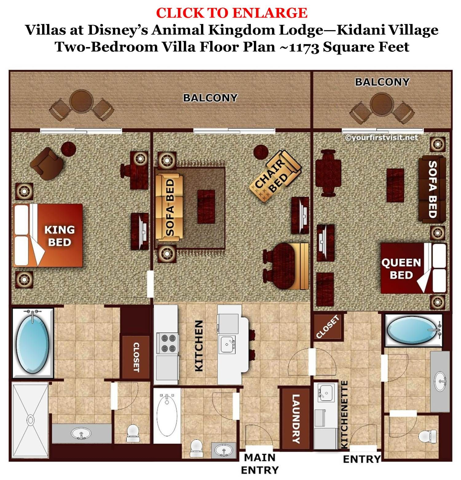 Two Bedroom At Kidani Village Animal Kingdom Lodge Villas Are Either Combined From A Studio And One Villa Lockoffs Or