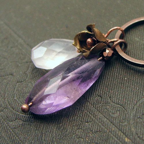 necklace with amethyst, quartz and vintage flower by Adornments NYC, via Flickr