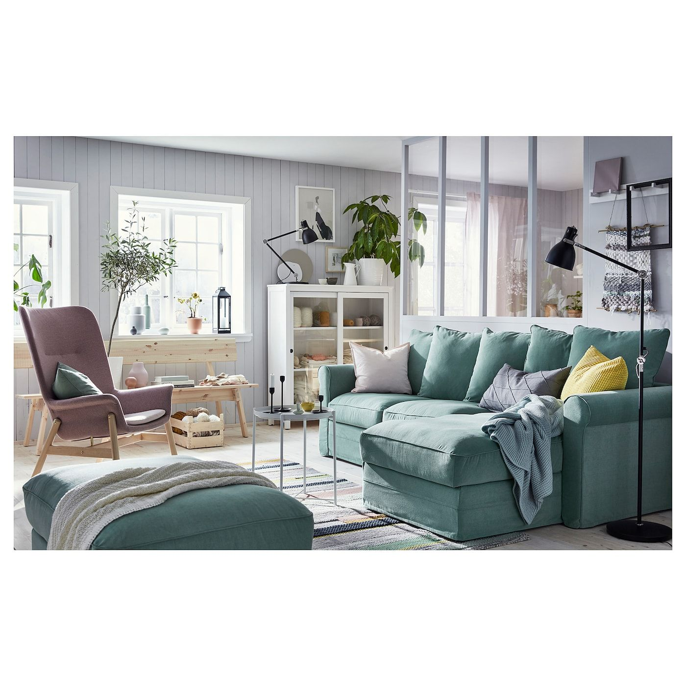 Gronlid Sofa With Chaise Ljungen Light Green Ikea Living Room