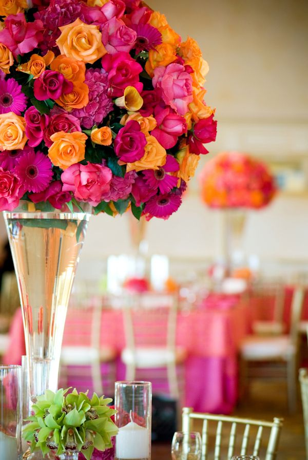 Fuchsia And Orange Wedding Floral Centepieces Photo By Yvette Roman Photography Orange And Pink Wedding Orange Wedding Flowers Floral Wedding