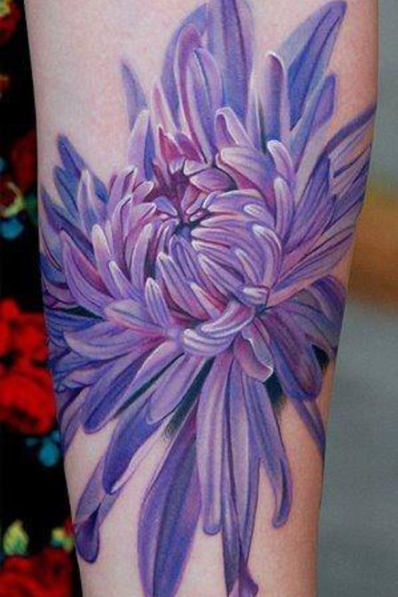 Chrysanthemum November Birth Flower Dark Blue Violet Tones Purple Tattoos Chrysanthemum Tattoo Flower Tattoos