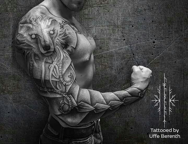 Sleeve Of Fenrir About 7 800 Viking Tattoos Shoulder Armor Tattoo Armor Sleeve Tattoo