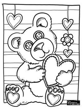 Gratuit: Coloriage St-Valentin : Ourson | Coloriage st ...