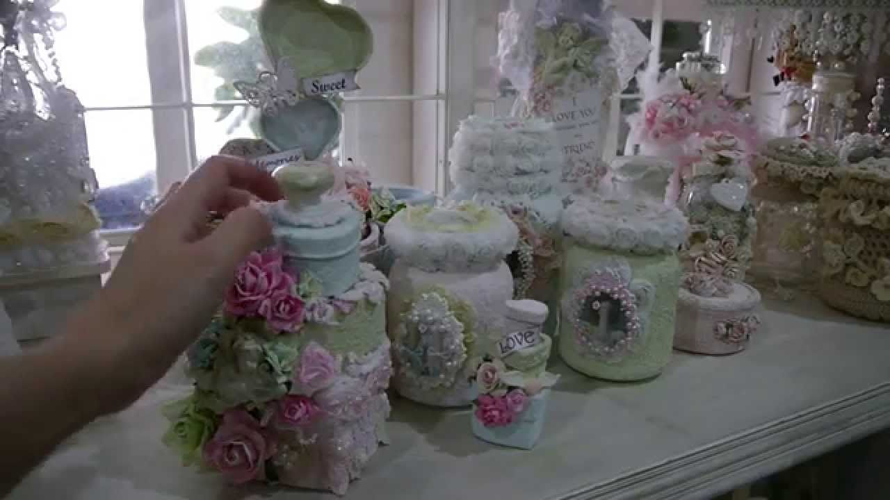 Altered  Tilda/Shabby Chic Jars with (Sand texture Paste)
