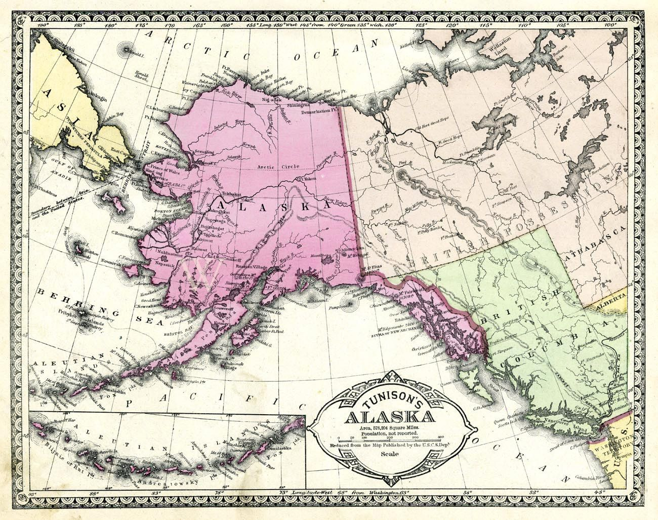 Co color art printing alaska - Antique Map Alaska From The 1890s In Pastels Large Map Printable Digital Download For Wall Art Tunison Hand Colored Steel Engraved