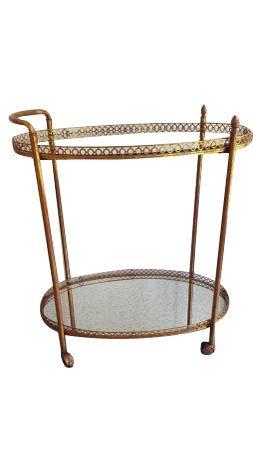 Vintage Gold Serving Cart Bar Tail By Grabaseat On Etsy