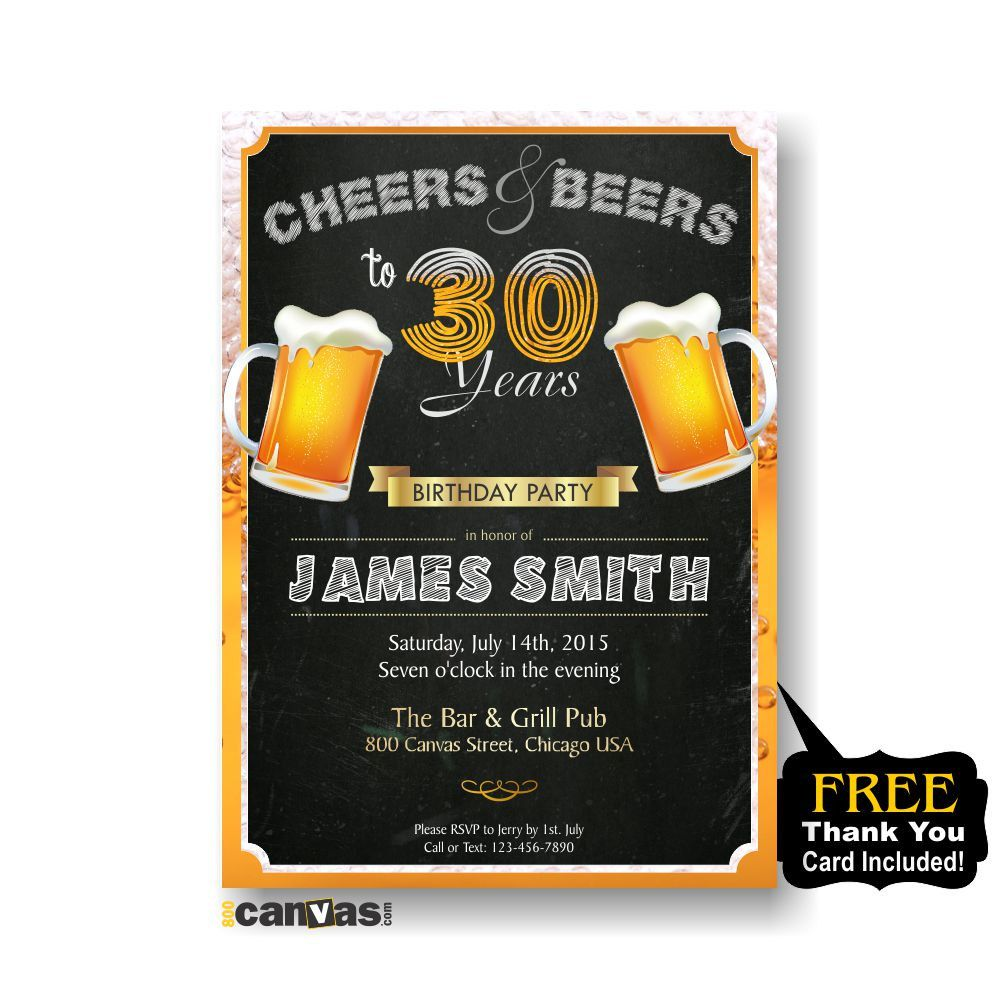 Cheers and Beers Birthday Invitation, Adult Surprise Party 21th 30th ...