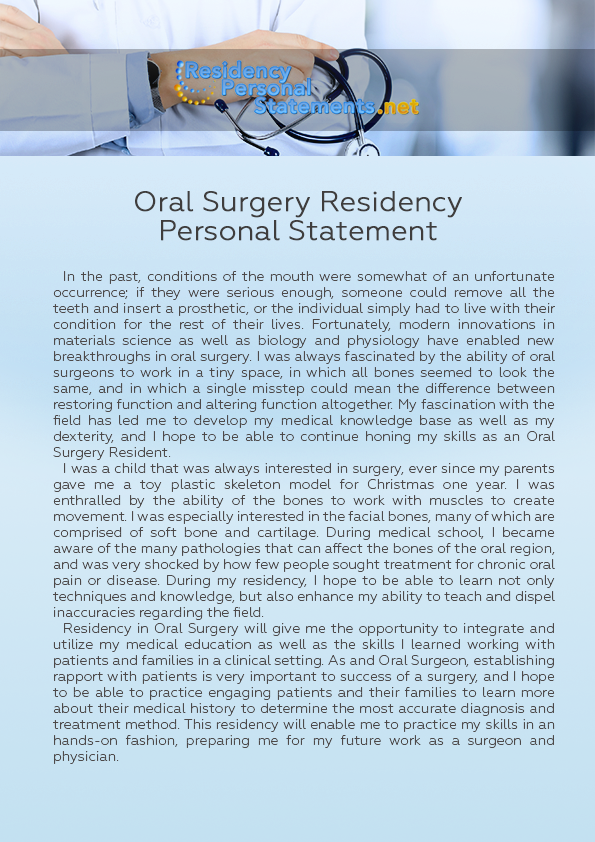Oral Surgery Residency Personal Statement Sample Which Can Point