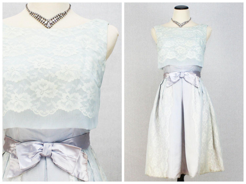 Vintage s blue lace organza party dress products pinterest