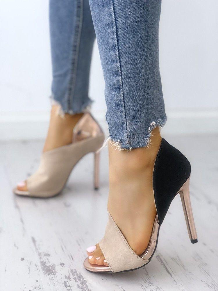 Colorblock 2018 Peep Toe High heeled Sandalos in 2018 Colorblock   I WANT   Pinterest 852ef4
