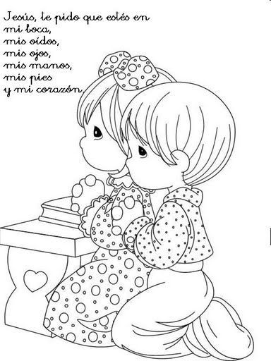Dibujos Católicos : Imagenes niños en oración para colorear ...
