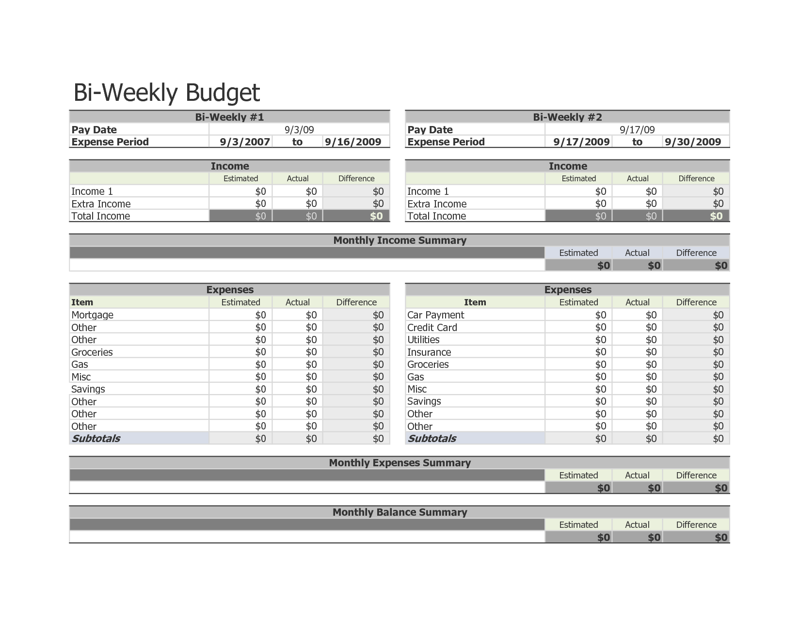 Bi Weekly Budget Worksheet