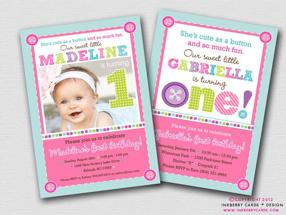 Cute as a Button First Birthday Party Invitation Digital File – Cute First Birthday Invitations