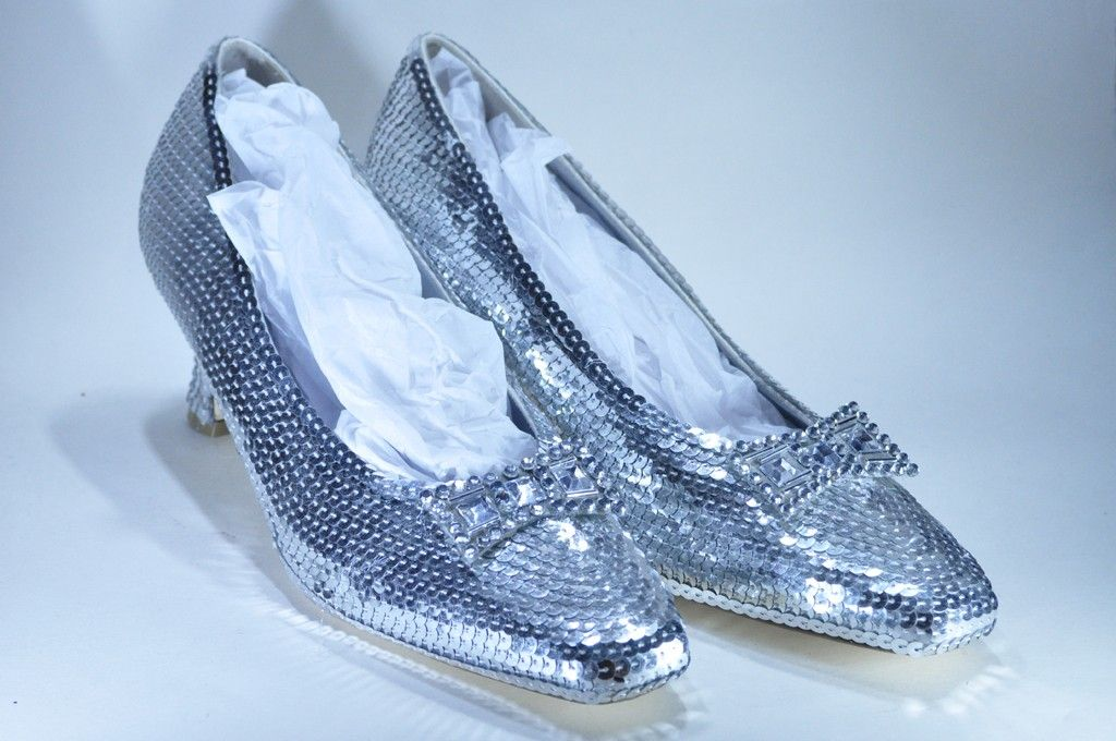 silver sparkly slippers