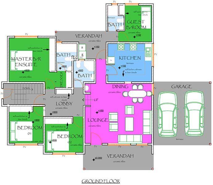 Download 4 Bedroom Maisonette House Plans | Adhome