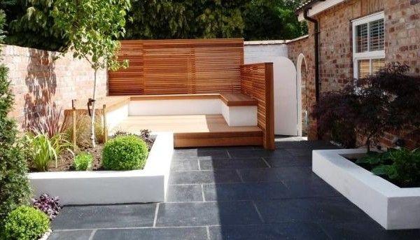 Gartengestaltung modern bilder ideen sitzecke sichtschutz holz ...