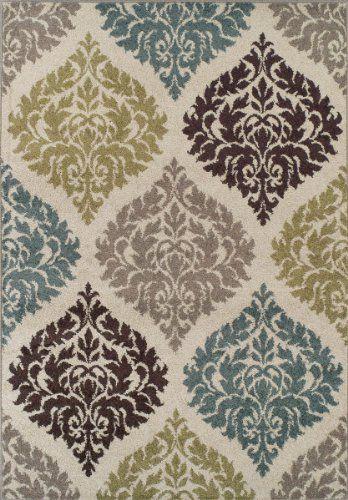 premium modern/transitional area rug soft damask carpet 8x10-8x11