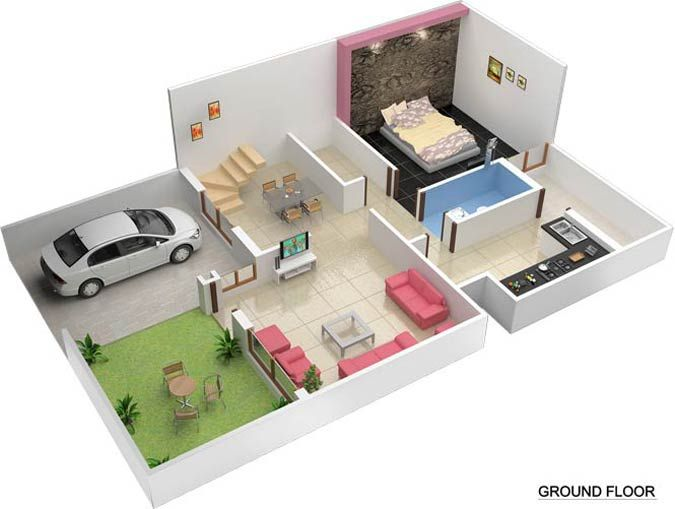 3D Duplex House Plans - MyhomeMyzone.com | Plans de maison ...