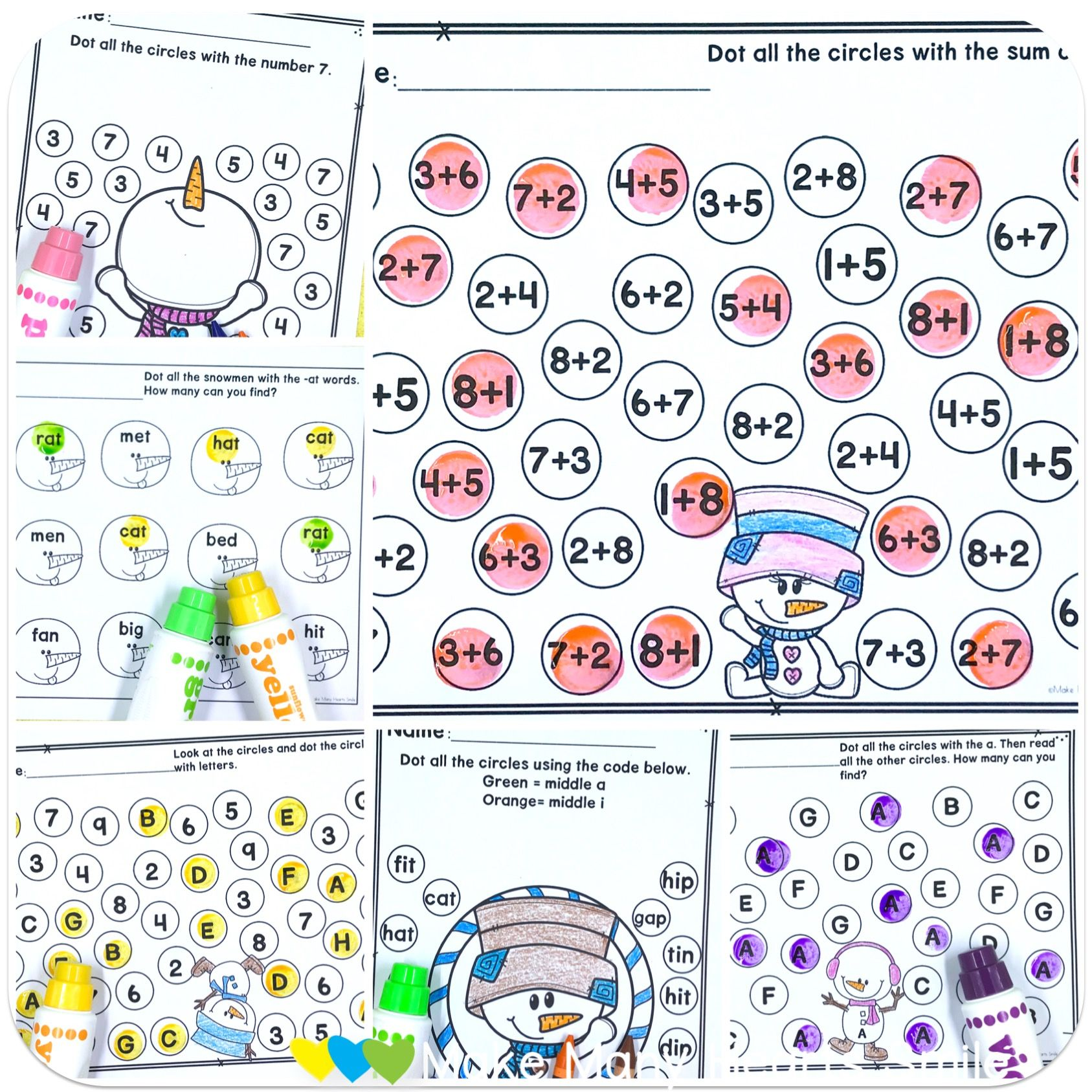 Fun Editable Snowman Worksheets For Sight Words Addition