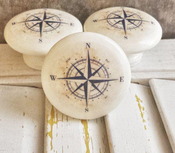 Handmade Nautical Birch Wood Knob Drawer Pulls, Antique Style Navy Blue  Compass Cabinet Pull Handles