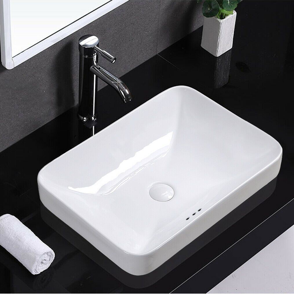 Details About Winzo Rectangular Drop In Bathroom Sink Semi