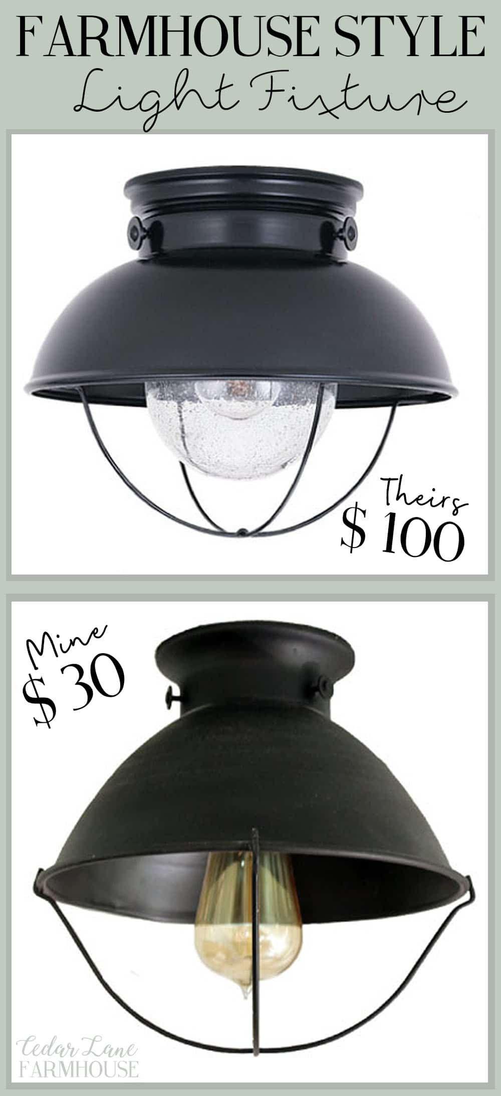 DIY Farmhouse Style Light Fixture Farmhouse light