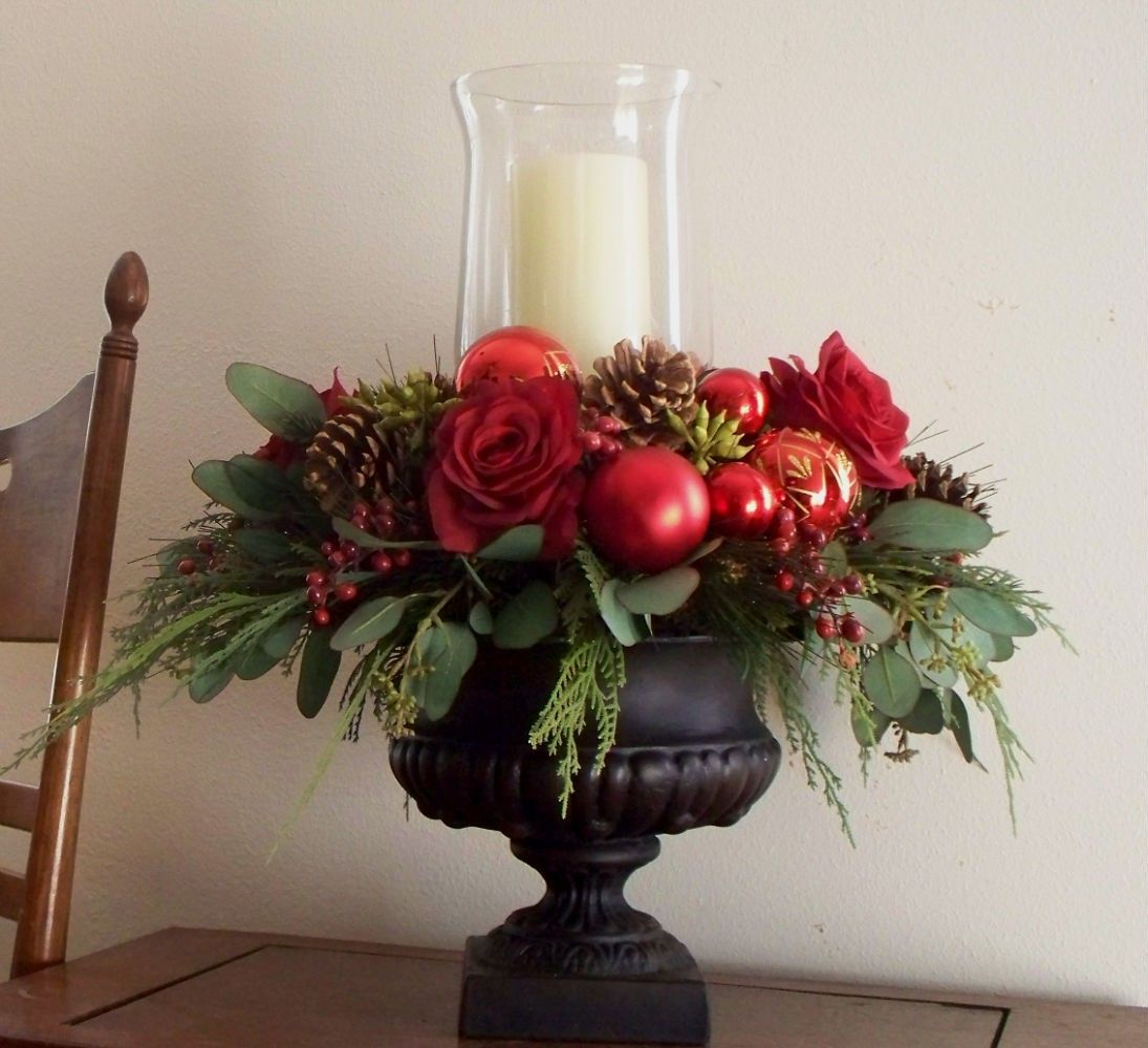 Christmas centerpiece red silk in black urn via for Table arrangements