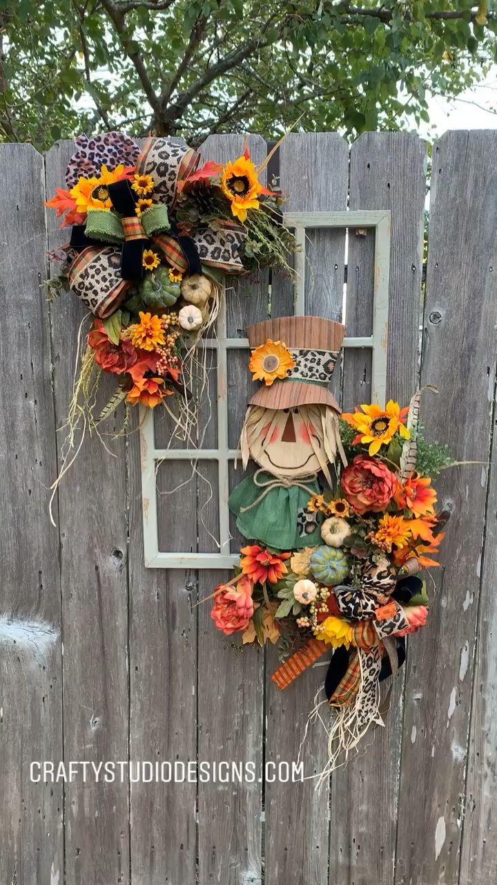 Photo of Herbstkranz, Herbstfenster, Kürbiskranz, Bilderrahmenkranz, Falltürhänger