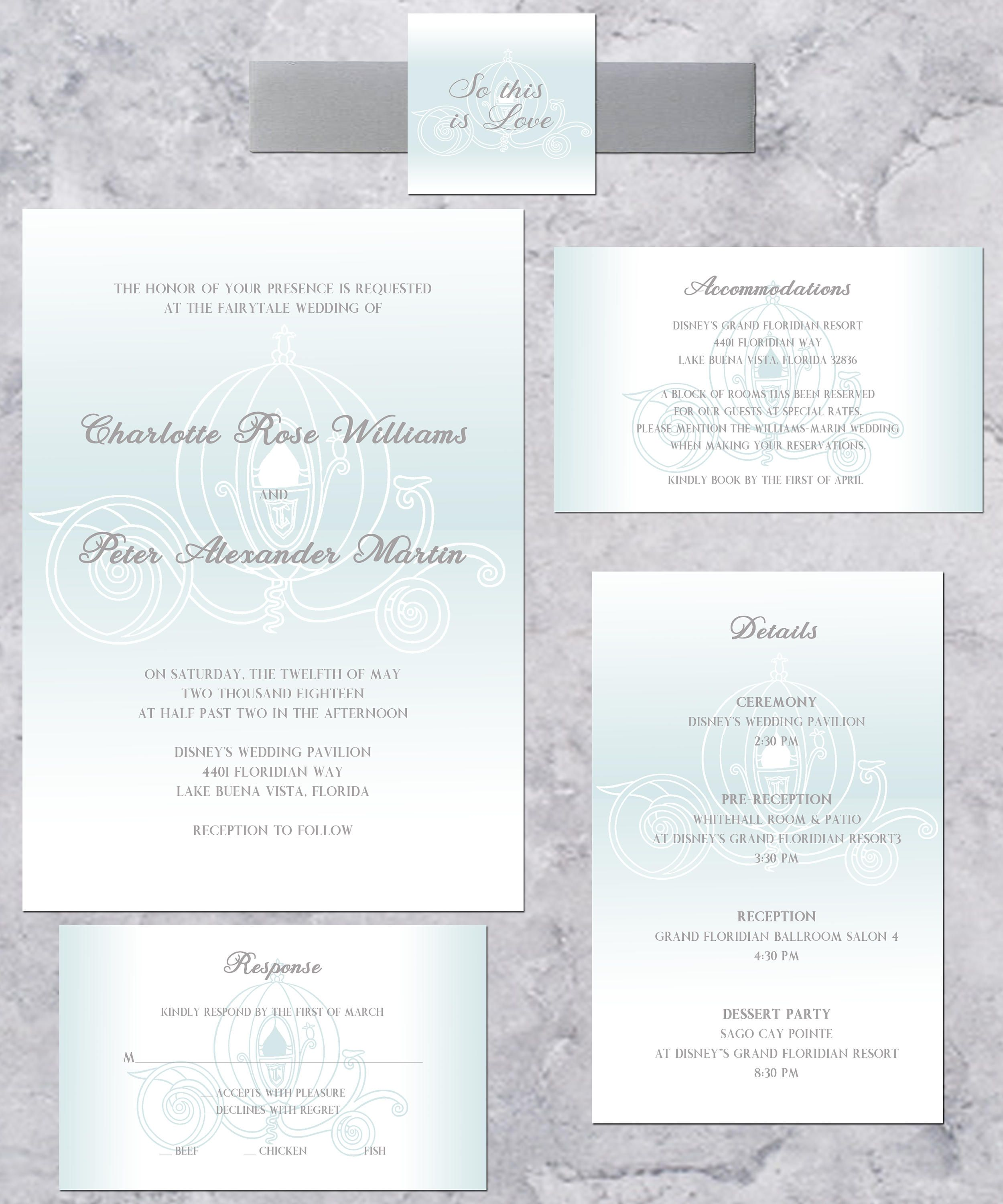 Cinderella Carriage Wedding Invitation, Disney Princess Wedding ...