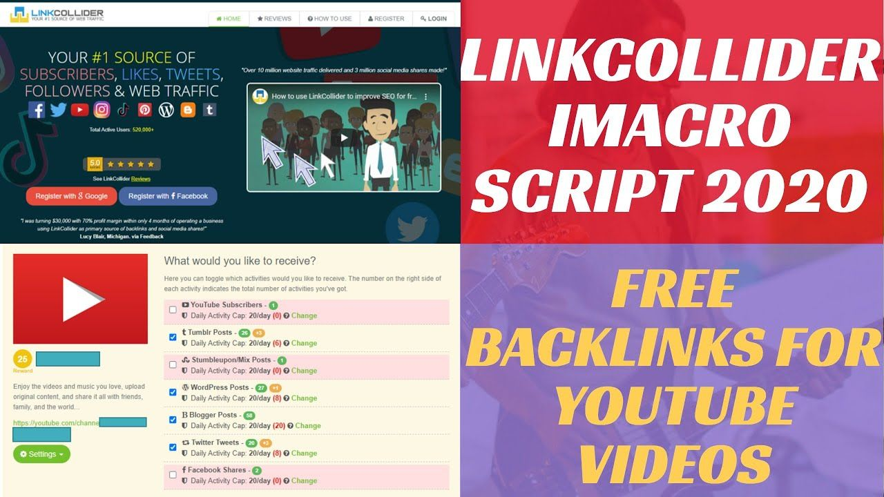 Linkcollider Imacro Script Free Backlinks For Youtube Videos Linkcol Backlinks Free Seo Tools Get Instagram Followers