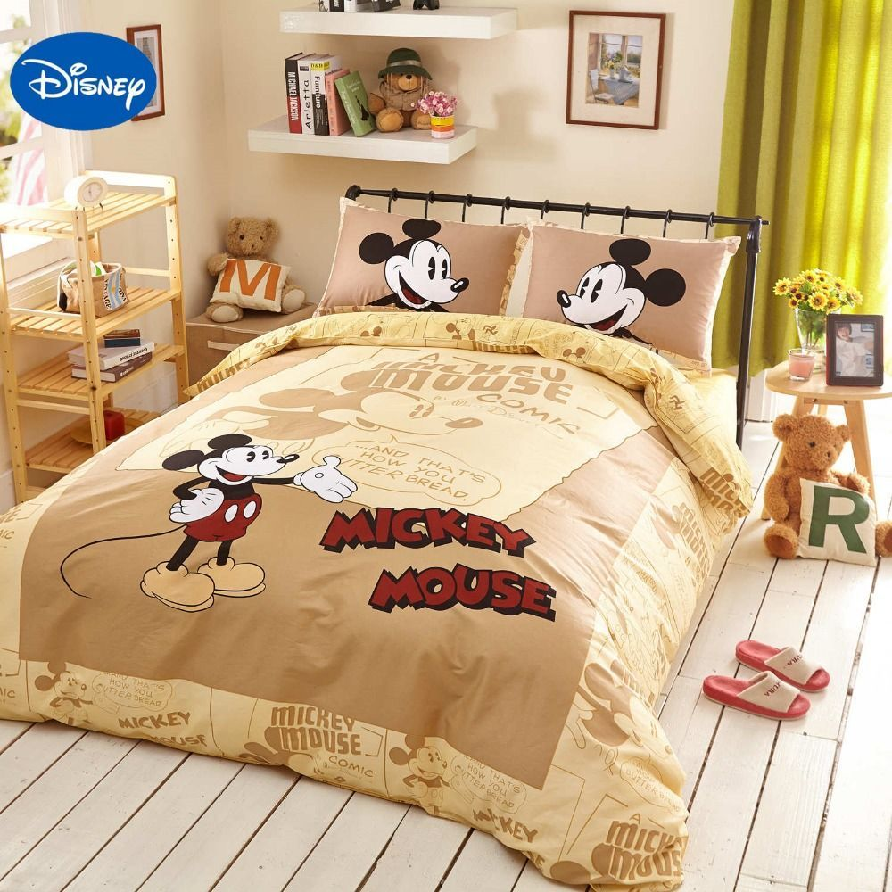 Beige Disney Cartoon Mickey Mouse 3d Printed Bedding Set For Boys Bedroom Decor Cotton Bed Sheets Duve Disney Bedding Sets Boys Bedroom Decor Kids Bedding Sets